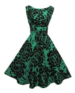 New  Vintage 1940's 50's style Green Black Floral Party Prom Swing Dress